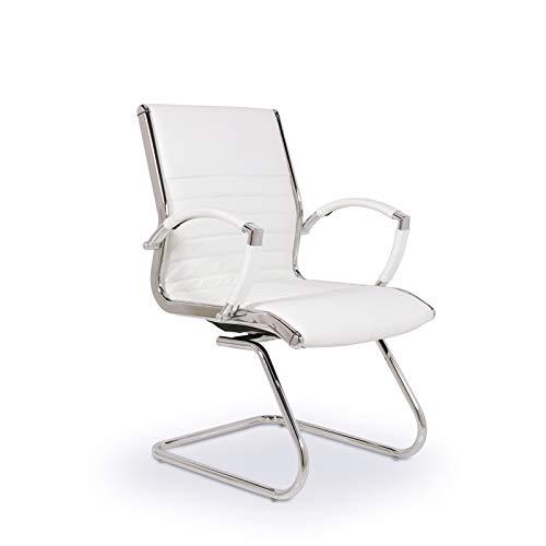 VERSEE Design Besucherstuhl Montreal - Echt-Leder - weiß - Konferenzstuhl, Freischwinger, Schwingstuhl, Meetingstuhl, Besprechungsstuhl,...