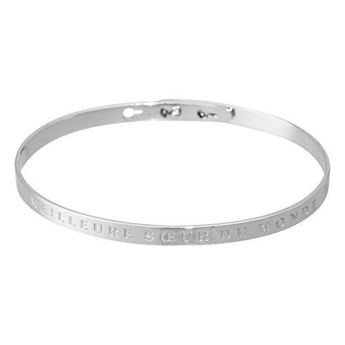 Mes-bijoux.fr armband, klassiek, messing, verzilverd - beste zus ter wereld