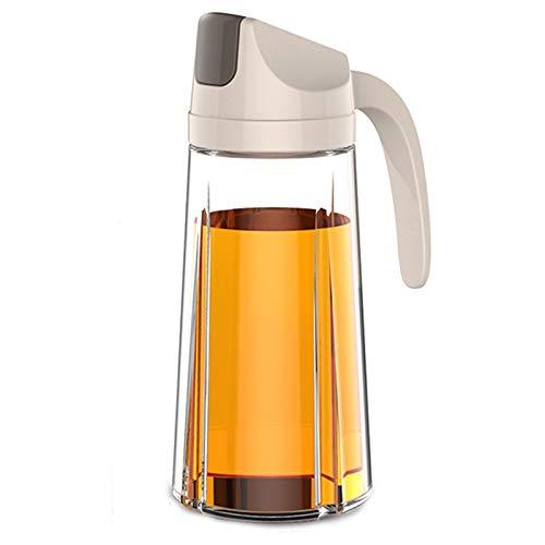 WlP Botella dispensadora de Aceite de Oliva, Recipiente de Vidrio para condimentos a Prueba de Fugas, vinagreras dispensadoras de vinagre con tapón automático para Cocina, Barbacoa