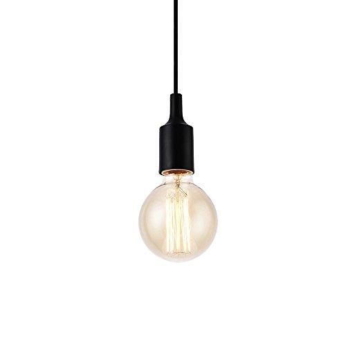 lux.pro Retro Lampenfassung/Hängeleuchte für E-27 Fassung (schwarz)