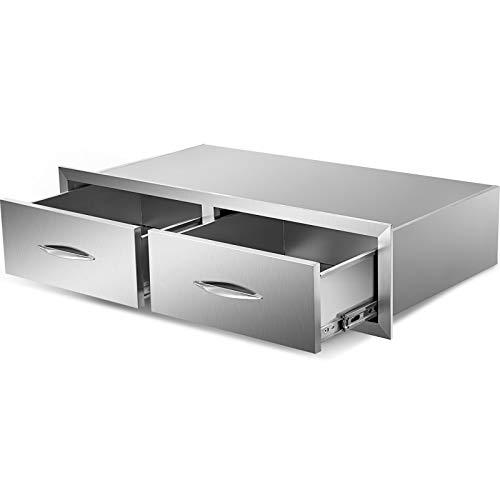 GIOEVO Cassetto per Cucina Esterno Cassetto per Barbecue in Acciaio Inox con Doppio Accesso e Maniglia Cromata (30 x 20 x 10 Pollici, Cassetto Doppio Accesso)