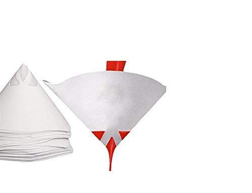 MYAMIA 50Pcs 9.5 x16Cm Papier Lack-Sieb-Trichter-Nylon-Filter Konische Maschen Weiß