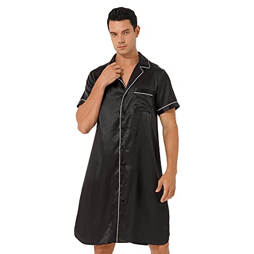 JanJean Herren Satin Nachthemd V-Ausschnitt Sleepshirt Kurzarm Button Down Pyjama Hemd mit Tasche Langarm Pullover Bademantel Nachtwäsche A Schwarz M