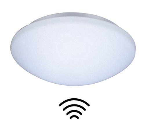 ZEYUN Wandleuchte E27 Glas Deckenleuchte mit Bewegungsmelder, Deckenlampe, Automatikleuchte, zeitlos Sensorlampe Flurlampe in Opalglas,IP44, Weiß, Ø28 cm