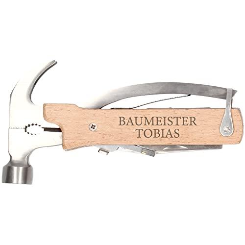 Premium Multitool 10 in 1 mit Wunsch-Gravur- Multifunktionswerkzeug - Werkzeug Set - Heimwerker Outdoor Camping Hammer Messer Bike Fahrrad etc.| Edelstahl | Geschenke für Männer
