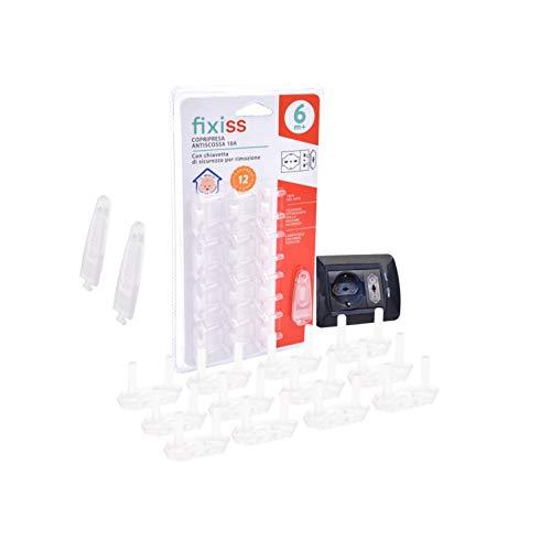 FIXISS™-Nuova Versione di Copripresa Elettrica Bambini Kit Chiusure Sicurezza 12 Pezzi Protezione Primi Passi Bambini Salva Bambino Proteggi Prese Elettriche Spina Elettrica Shuko, Design Packaging