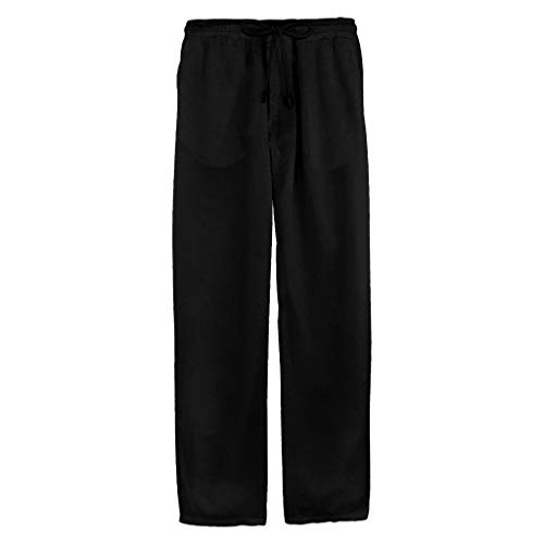 Pantalones Hombre Verano Casuales Moda Deportivos Algodón y Lino Pants Color sólido Jogging Pantalon Fitness Suelto Pantalones Largos Pantalones Ropa de Hombre (Negro, XL)