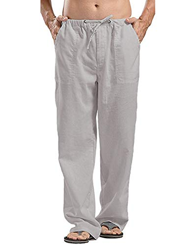 JINIDU Männer Cotton Yoga Beach Coole Lange Hosen Stretchy Drawstring Taillenhose, 1- Grau, XXXL
