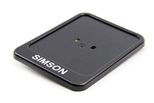 Kennzeichenhalter schwarz mit SIMSON Aufdruck + Bisomo-Sticker