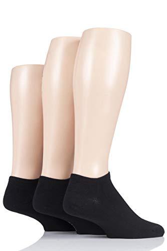 Pringle Black Label Herren Bambus Trainer Socken Packung mit 3 Schwarz 40-46