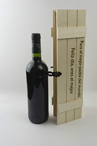 Botellero personalizado de madera con grabado laser. Caja de madera para botella de vino. El regalo ideal para el día del padre, dile lo mucho que le quieres con este original detalle