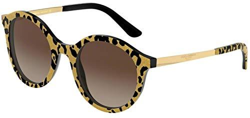 DOLCE & GABBANA Damen 0DG4358 Sonnenbrille, Gold (Leo Glitter Gold On Black), 50.0