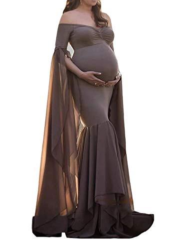 Arbres - Vestito da gravidanza per servizi fotografici e premaman marrone L