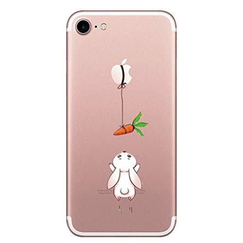Caler Hülle Kompatibel/Ersatz für iPhone 7 Hülle Weiche Flexible Silikon Handy Transparente Ultra Slim Gel TPU dünne stoßfeste Tasche Etui Schutzhülle Hülle (Kaninchen Karotte)
