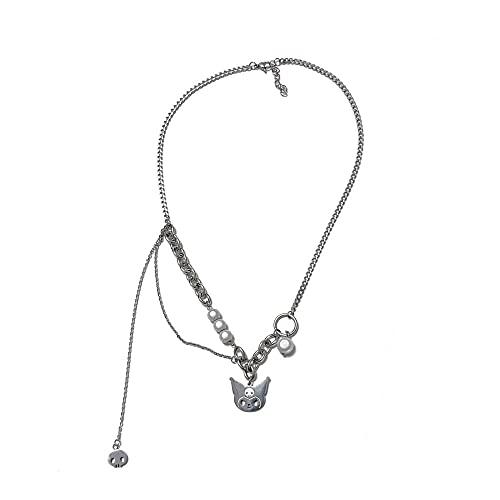 Gato simple collar retro de cuentas reflectantes diseño de nicho sentido cadena de clavícula hembra