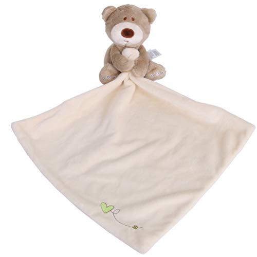 YeahiBaby Schnuffeltuch Bär Form Schmusetuch für Baby Neugeborenen Plüschtiere Decke (Weiß)