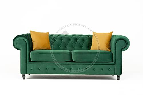 Sofá Chesterfield de tela de terciopelo de felpa verde de bosque (sofá de 2 plazas)