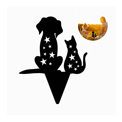 Iusun Black Metal Dog Cat Silhouette Stakes, Fairy Garden Decoration Standing Statue Ornaments Gardening Sculpture for Yard Patio Lawn Indoor Outdoor DÉCor, Vintage Style Shadow Art Sign (A)