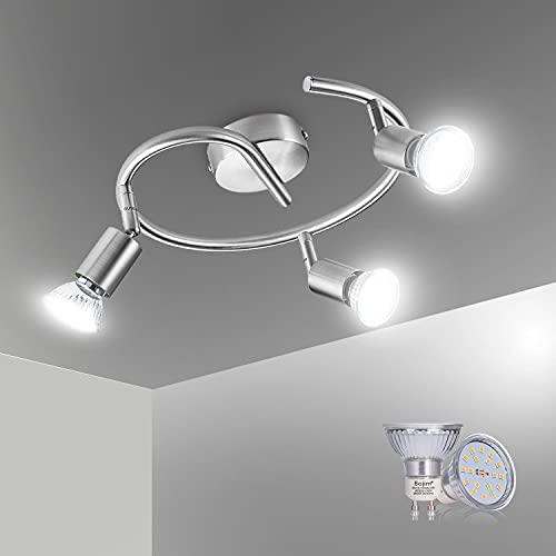Bojim Lámparas de Techo, 3 Focos Techo forma en espiral, Apliques techo para la cocina, el pasillo y el dormitorio, Níquel Mate, Incluye 3 Bombillas LED GU10 (6W, 600lm, IP20, 4500K Blanco Natural)