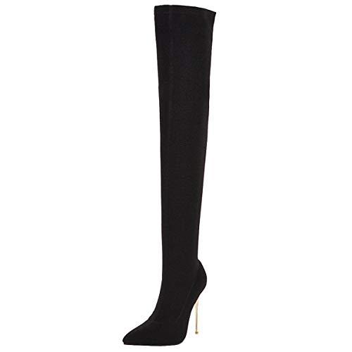 LUXMAX Stivali Elasticizzati Donna sopra Il Ginocchio Tacco Alto Spillo Sexy Scarpe a Punta Tacchi Alti 10 CM (Nero) - 46 EU