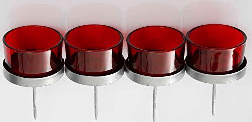 Novaliv 4X Kerzenhalter rot Teelichthalter Teelichtgläser Kerzenhalter zum Stecken Kerzenpicks für Adventskranz 5cm