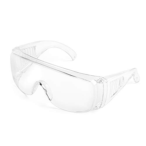 Safety Goggles Splash Resistant Lens AntiFog OverGlasses with Soft Nose Piece Light Weight and Comfortable to Wear