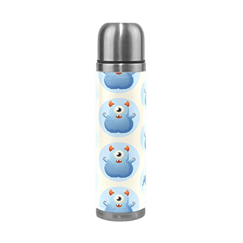 Ffy Go Travel Mug, Cute Monster Funny Impression personnalisé Thermos en acier inoxydable LeakProof Thermos isotherme extérieur Cuir pour filles garçons 500 ml