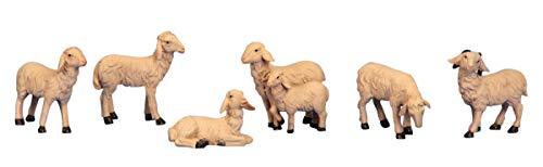 6 Stück Schafe Dekofiguren (H 4-6,5 cm)