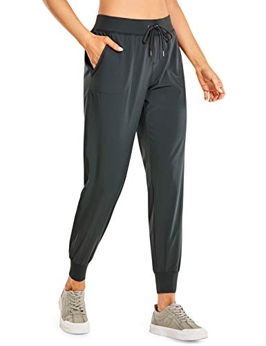 CRZ YOGA Women s Lightweight Joggers Pants with Pockets Drawstring Workout Running Pants with Elastic Waist Melanite X-Small