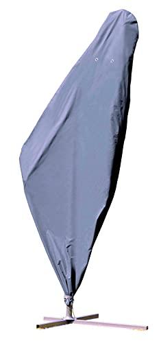 Kronenburg Schutzhülle Ampelschirm Winterfest aus 420D Oxford Gewebe in grau – für Gartenschirme bis 500 cm Durchmesser – Abdeckhaube für Sonnenschirm wasserdicht mit Reißverschluss