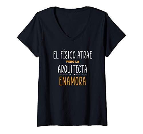 Mujer Regalos para Arquitectas - PERO LA ARQUITECTA Enamora Camiseta Cuello V