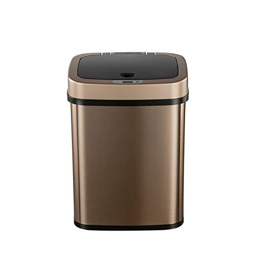 Xihaha Muy útil, Sensor Inteligente Bote de Basura de Acero Inoxidable Cuadrado Cuadrado Bandejo Buque de Basura Oficina Buque Bin Oro 12L Productos indispensables en la Vida (Color : Gold)