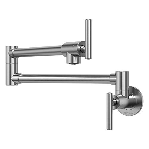 NIREU Pot Filler Faucet Wall Mount Brushed Nickel Folding Stretchable Brass Kitchen Faucet with Single Hole Two Handles
