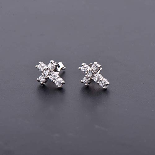Tiny Sterling Silver Cross Earring Studs Pave Cubic Zirconia Diamond Imitation