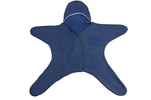 Ringelsuse Baby Overall Little Star Blau mit Kapuze Unisex Stern Baumwolle Fairtrade