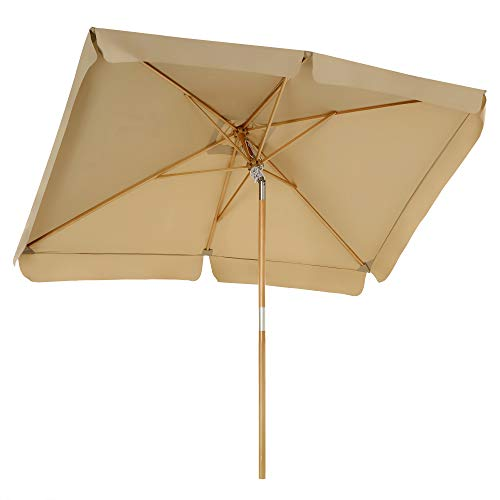 SONGMICS Sonnenschirm für den Balkon, 300 x 200 cm, rechteckiger Balkonschirm, Sonnenschutz bis UPF 50+, Schirmmast, Schirmrippen aus Holz, knickbar, ohne Ständer, Garten, Outdoor, Taupe GPU300K01