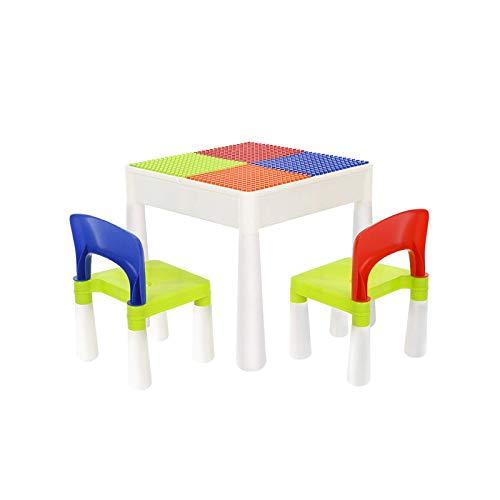 N/Z Living Equipment Multi Kids Aktivitätstisch Set Baustein Tisch mit 2 Stühlen Bausteine Wassertisch Outdoor Play Sand Tisch