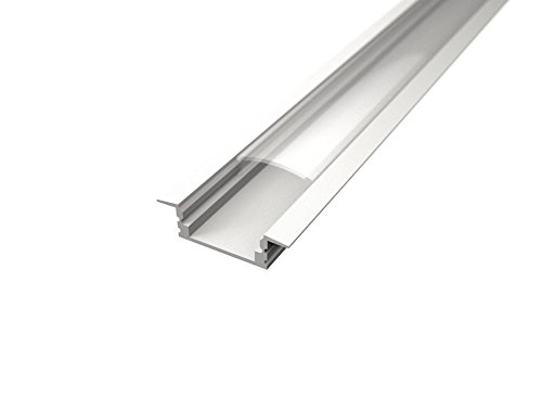 TL1204 - Profilés blancs en aluminium encastrables pour barres à LED, 2 m, avec verre opaque ou transparent, embouts et système de fixation inclus COVER TRAPARENTE