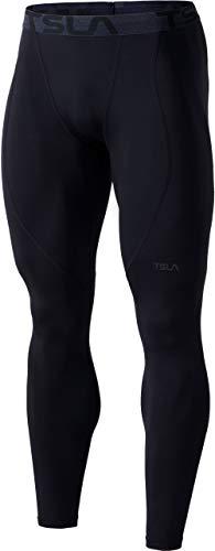 TSLA Men's Thermal Compression Pants, Athletic Sports Leggings & Running Tights, Wintergear Base Layer Bottoms, Heatlock Black, Large
