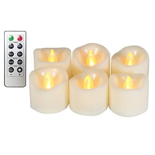 Erosway Teelichter LED realistisch Flackernde Flammenlose LED Kerzen mit Fernbedienung, 2/4/6/8 Timer, 300 Stunden Nonstop Leuchten geliefert 6 Stück/Paket(Weiß)