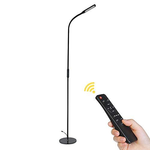 Lampadaire Avec Télécommande 9W LED Lampadaire LED Réglable 5 Niveaux de Luminosité et 5 Niveaux de Couleur, Lampe D'étude/Salon/Bureau/Lecture, Avec Minuterie, Réglable Corps 360 - Noire