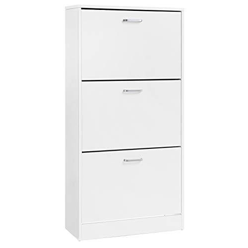 VASAGLE 3-Tier Wooden Shoe Cabinet, Storage Cupboard With 3 Flip Doors, Perfect for Narrow Hallway, Living Room, Bedroom, White, 60 x 24 x 120 cm (W x D x H) LBC03WT
