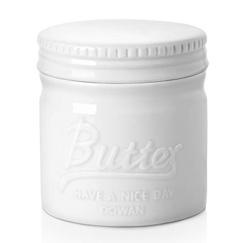 DOWAN Porcelain Butter Crock, Butter Keeper for Countertop, Mason Jar Style Butter Crock with Lid, French Butter Dish, Farmhouse Butter Crock with Water, Soft and Spreadable, White