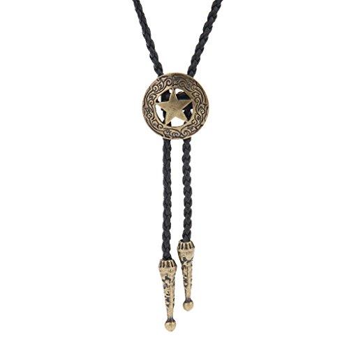 COOLLA Bolo tie - Colgante hecho a mano con diseño de estrella occidental, color negro, turquesa vintage para mujeres y hombres, Metal Cuero Piedra,