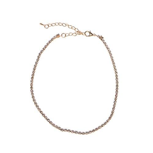 GUMEI Minimalista Collar de Cristal Gargantilla Collar Rhinestone Boda Nupcial Prom Joyería