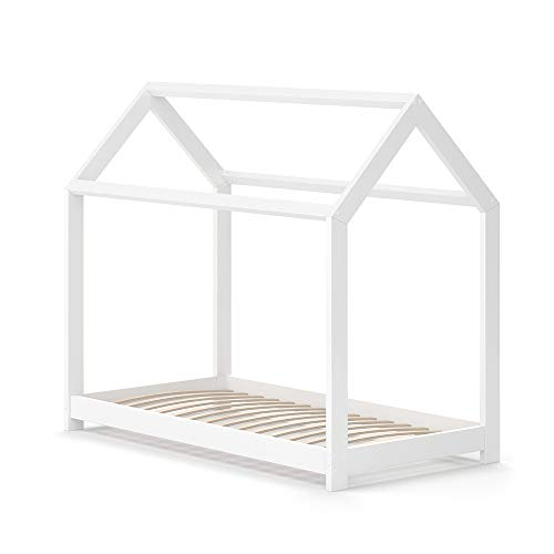 VitaliSpa Hausbett Wiki Weiß Kinderbett Kinderhaus Kinder Bett Holz Matratze (Weiß Lackiert, 70 x 140 cm)