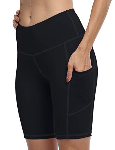 IOJBKI Workout Yoga Shorts for Women High Waist Tummy Control Running Biker Shorts with Pockets(IU311-Black-M)