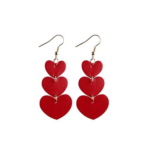 SDCAJA earrings for women,Women Girls Valentine's Day Party Faux Leather Drop Dangle Earrings Accessory Jewelry Gift