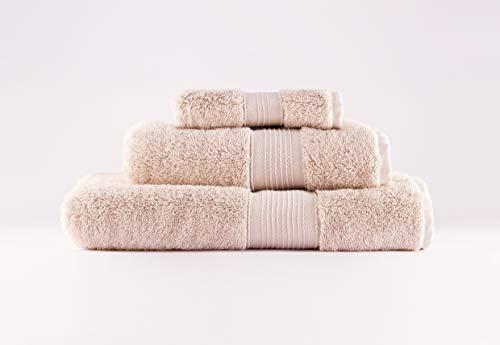 SPUM Toallas Premium 100% algodón, Tacto Ultra Suave, sin Productos químicos, lujosas y absorbentes de Secado rápido, 600 gr/m2. Juego de 3 Unidades (140x70 – 100x50 – 50x30 cm) (Buff Beige)