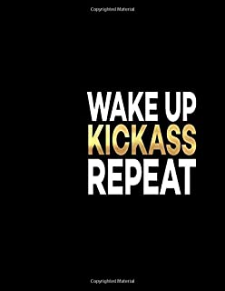 Wake Up Kickass Repeat: Great Gift Notebook Idea With Funny Saying On Cover, Joke For Coworker (110 Pages, Lined Blank 8.5x11
